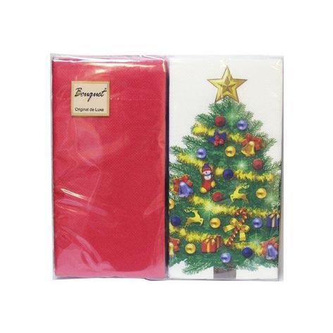 """Салфетки 33х33см, 2 сл., """"Новогодняя ель MIX с красном"""", многоцвет., Бумага, 20 шт, фото 2"""