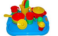 """Набор детской посуды """"Настенька"""" с подносом на 4 персоны Полесье"""
