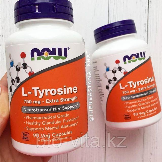 Now Foods, L-тирозин, Высокоэффективное средство, 750 мг, 90 капсул.