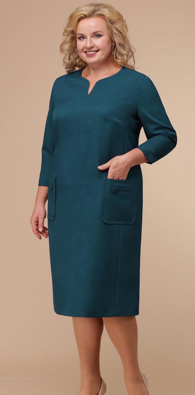 Платье Линия-Л-Б-1762, морская волна, 60