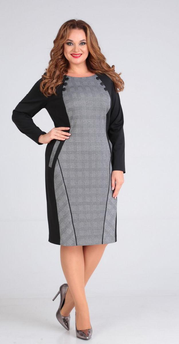 Платье Andrea Style-00218, серый с черным, 52