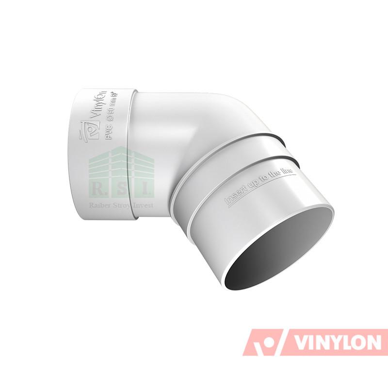 Колено трубы 67° Vinylon (белое)