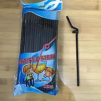 Коктейльные трубочки с длинной гофрой 100 шт (черные)