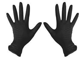 Перчатки нитрил смотровые, нестерильные Черные 50 пар размеры M,L.