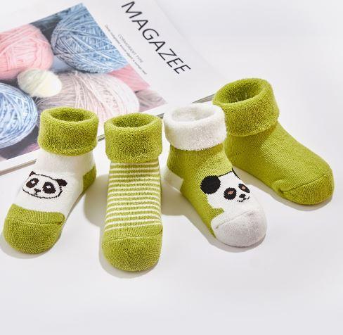 Носочки детские, теплые, 4шт, цвет зеленый