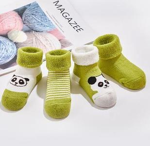 Носочки детские, теплые, 4шт, цвет зеленый, на 1-2 года