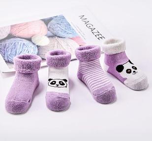 Носочки детские, теплые, 4шт, цвет фиолетовый, на 1-2 года
