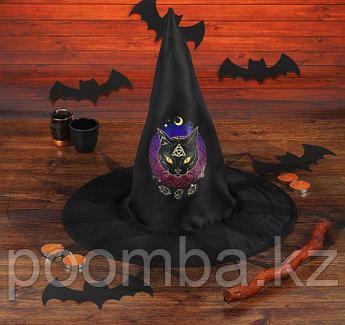 """Шляпа ведьмы """"Кошка"""" с сеткой, цвет черный"""