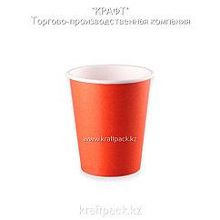 Бумажный стакан красный для горячих/холодных напитков 250мл (8 OZ / D80) (50/1000)