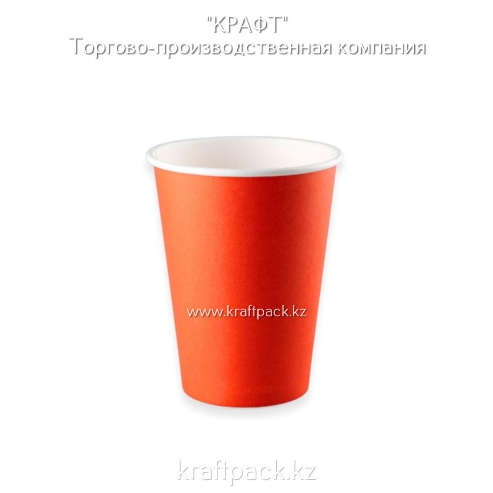 Бумажный стакан красный для горячих/холодных напитков 350мл D90 (50/1000)