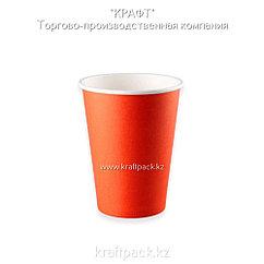 Бумажный стакан красный для горячих/холодных напитков 350мл (12 OZ / D90) (50/1000)
