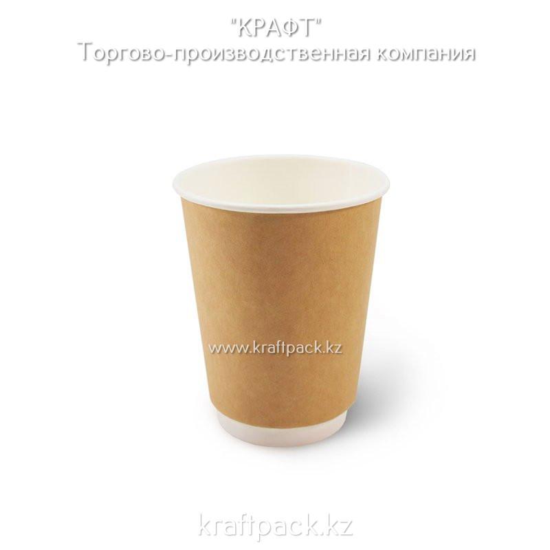 Двухслойный бумажный стакан крафт для горячих/холодных напитков 350мл (12 OZ) DoEco D90 (25/500)
