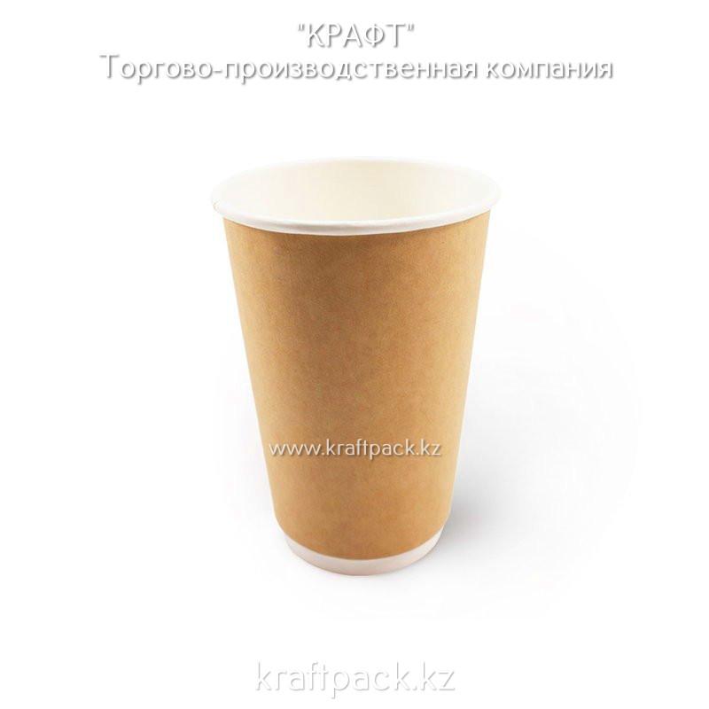 Двухслойный бумажный стакан крафт для горячих/холодных напитков 450 мл (16 OZ / D90) (18/360)