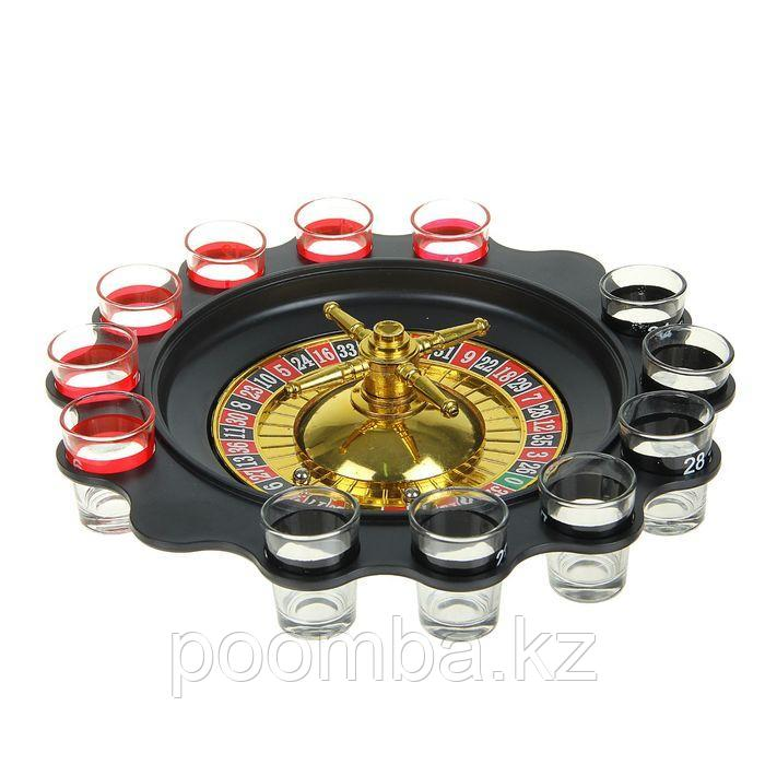 """Пьяная игра Алко Рулетка """"Алко-Вегас"""", рулетка черная d=29 см, 12 стопок"""