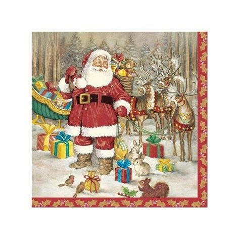 """Салфетки 33х33см, 3 сл., """"Hello Santa"""", Бумага, 20 шт, фото 2"""