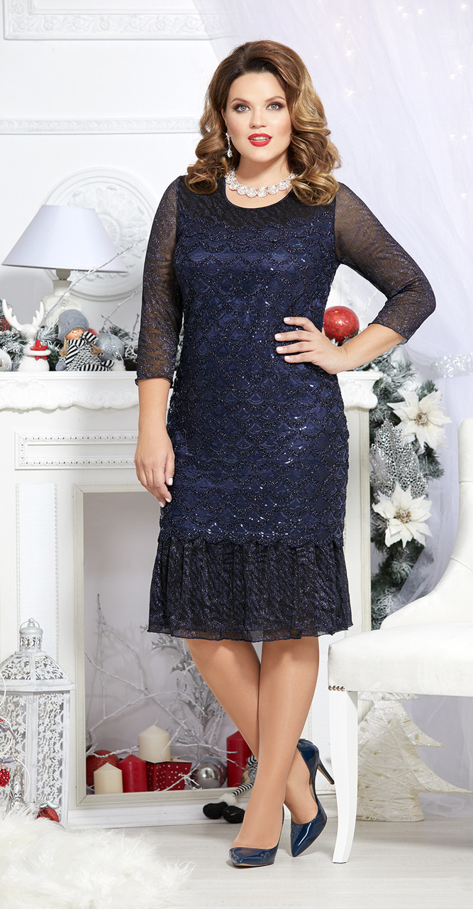 Платье Mira Fashion-4524, темно-синий, 50