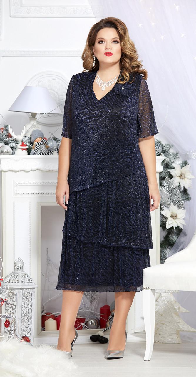 Платье Mira Fashion-4710-3, темно-синий, 60