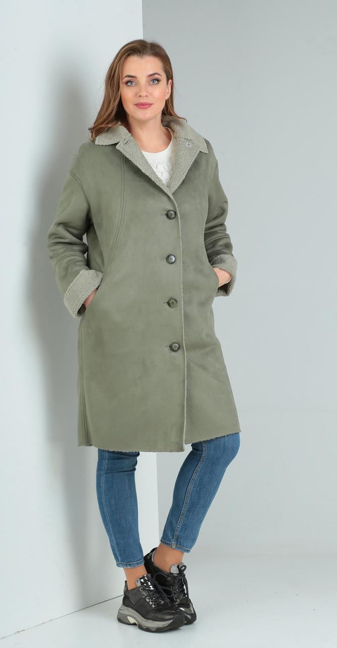 Пальто Диамант-1475, зеленые тона, 46