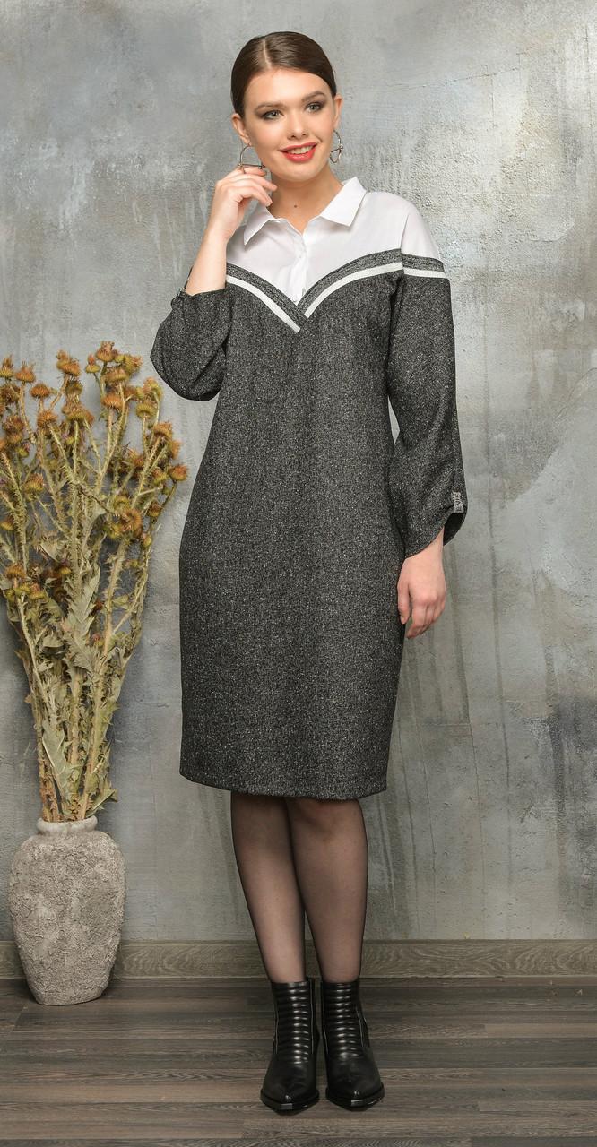 Платье Anna Majewska-А299, серый с белым, 50