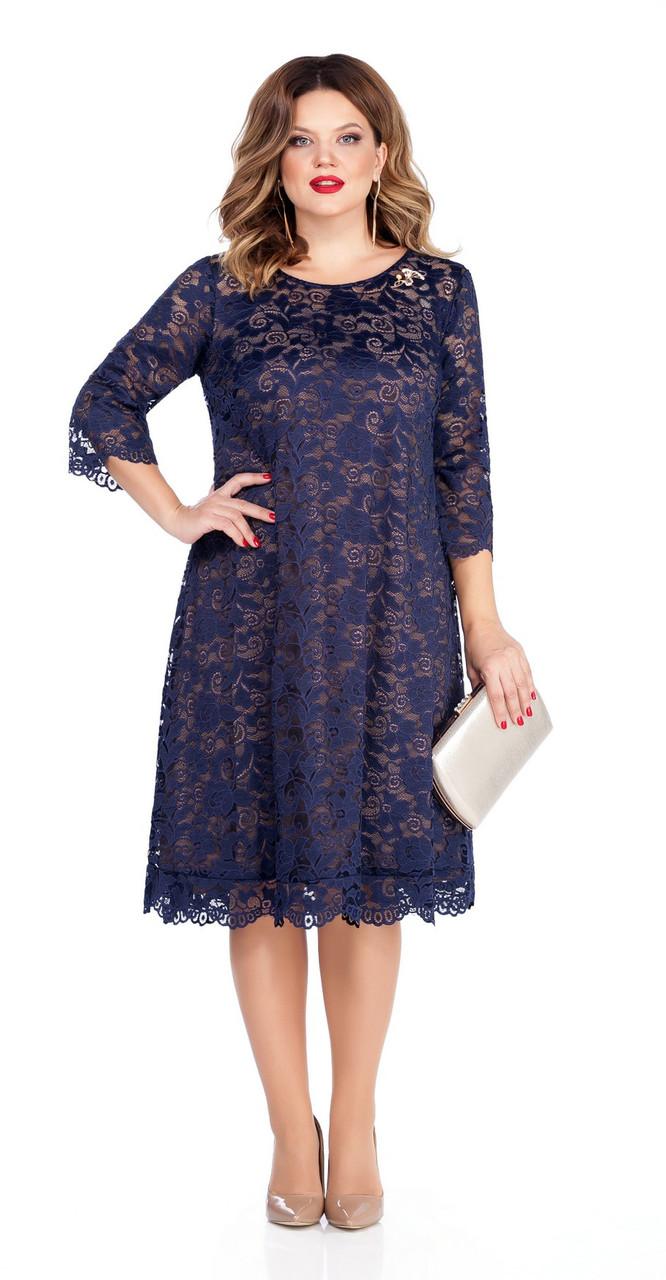 Платье TEZA-249/4, темно-синий+новое кружево, 50