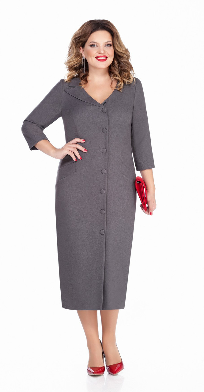 Платье TEZA-255/1, серый, 48