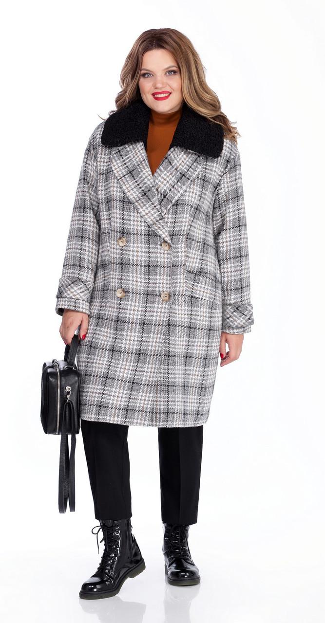 Пальто TEZA-264, серый-черный, 46