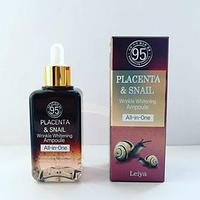Сыворотка Leiya Placenta & Snail Wrinkle Whitening Ampoule All-in-One 100ml.