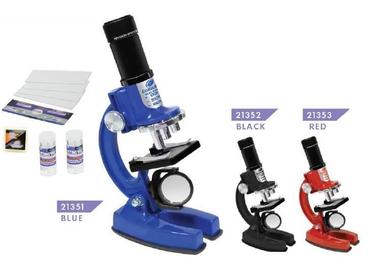 """Набор для экспериментов """"Микроскоп, сверхточная оптика"""" синий (100/200/450x)"""