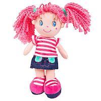 Кукла, с розовыми волосами в джинсовой юбочке, мягконабивная, 20 см