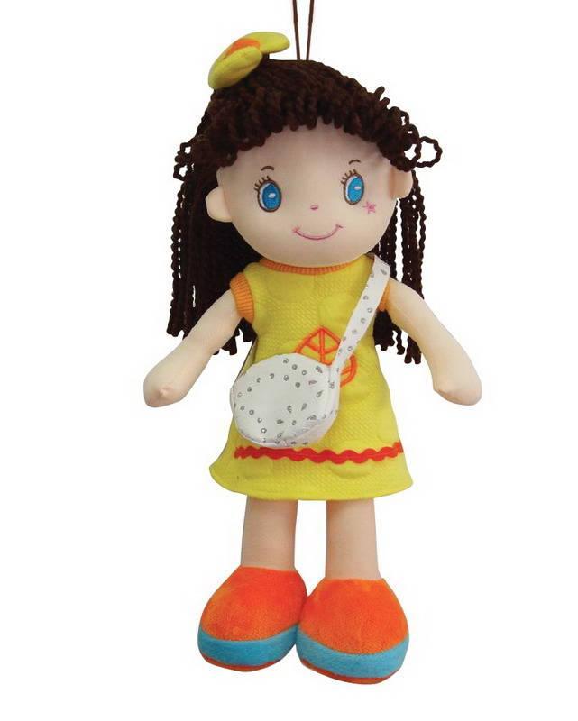 Кукла, брюнетка в желтом платье, мягконабивная, 20 см