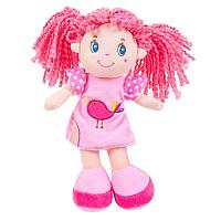 Кукла, с розовыми волосами в розовом платье, мягконабивная, 20 см