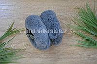 Меховые наушники складные цвет серый