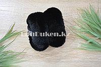 Меховые наушники складные цвет черный