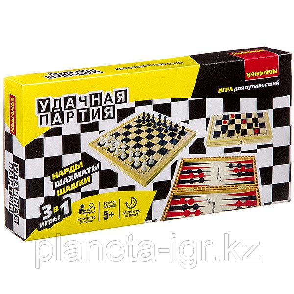 Удачная партия BONDIBON, 3в1 (шахматы, шашки, нарды), ВОХ 30, 1x15, 6x3, 5 см, арт. 18998.
