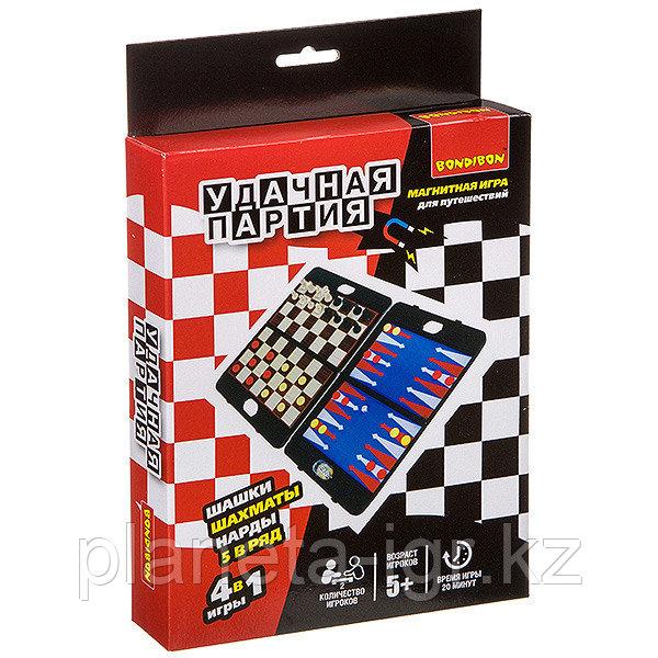 Удачная партия BONDIBON, 4в1 ( шахматы, шашки, нарды, 5 в ряд), ВОХ 24, 2x18, 6x3, 5 см, арт. 8996
