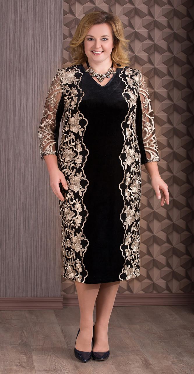 Платье Aira Style-655, черный с золотом, 56