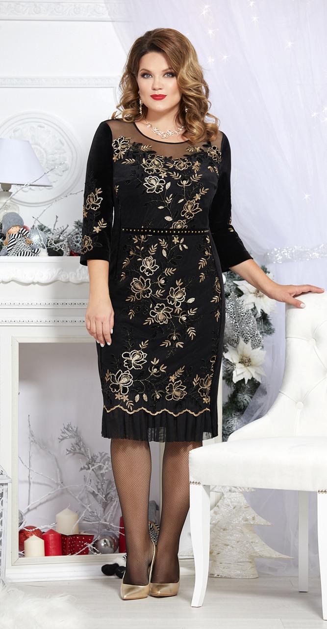 Платье Mira Fashion-4683, черный с золотым, 50