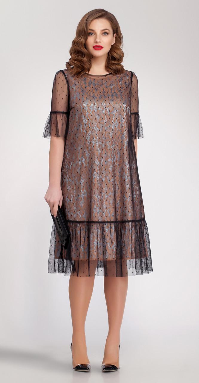Платье Магия Моды-1554, беж с черным, 50