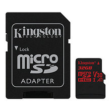Kingston SDCR/32GB Карта памяти 32GB microSDXC Canvas React 100R/80W U3 UHS-I V30 A1 C, с адаптером