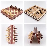 Шахматы магнитные деревянные 3в1
