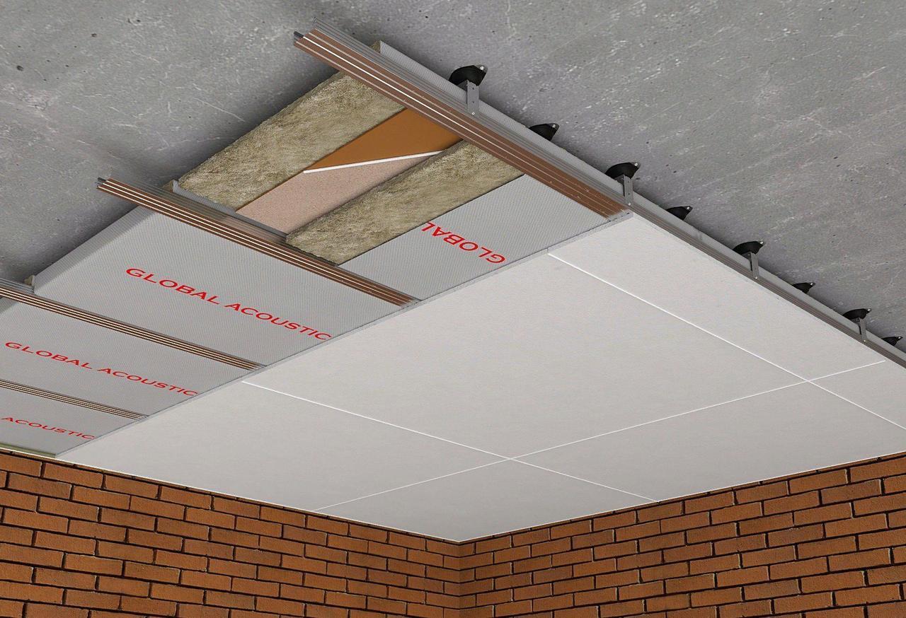 Каркасная звукоизоляция потолка Эконом +