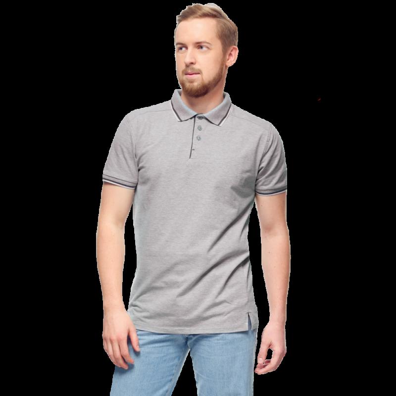 Рубашка поло с контрастной планкой, StanAbsolute, 05, Серый меланж (50), XL/52