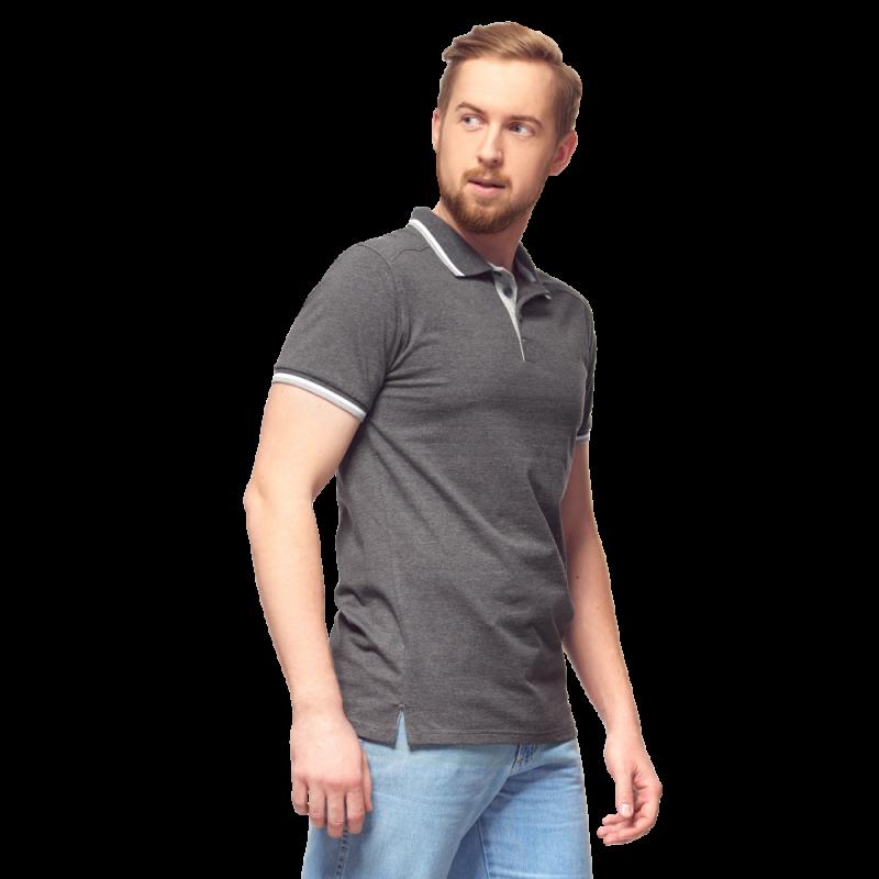 Рубашка поло с контрастной планкой, StanAbsolute, 05, Тёмный меланж (60/1), XS/44