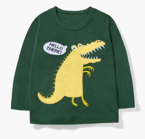 Кофта детская, с крокодилом, зеленая