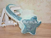 Меховые наушники со звездами и блестками 18815-7 голубые