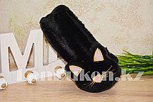 Меховые наушники кошки с широким ободком черные