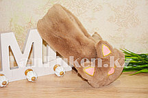Меховые наушники кошки с широким ободком коричневые