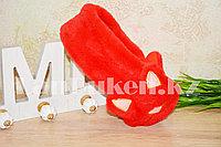 Меховые наушники кошки с широким ободком красные