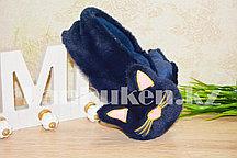 Меховые наушники кошки с широким ободком темно синие