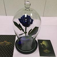 Роза в изогнутой колбе синяя 33 см.